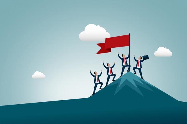 Desktop work and business success and achievement  men conquering mount