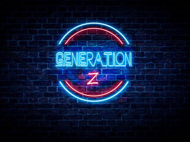 Desktop gen z image bricks behind and neon