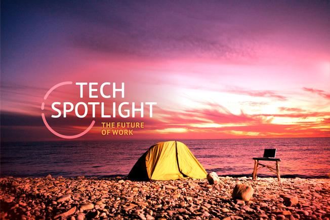 Desktop spot future of work cw 3x2 2400x1600 article digital nomad beach tent laptop camp sunset by thinkstock 100876234 large