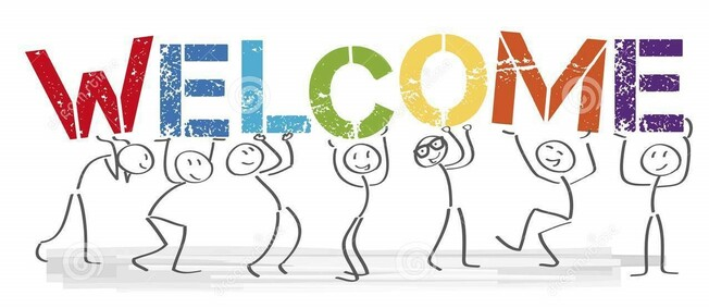 Desktop stick figures holding word welcome vector banner text welcome welcome together people big colorful letters 114865217